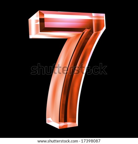 3d number 7 in red glass - stock photo