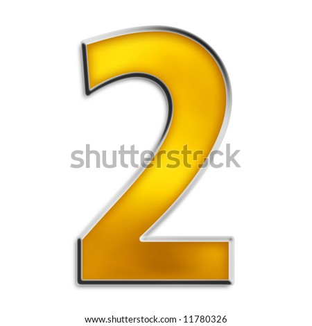 3d number 2 in shiny yellow gold isolated on white series - stock photo