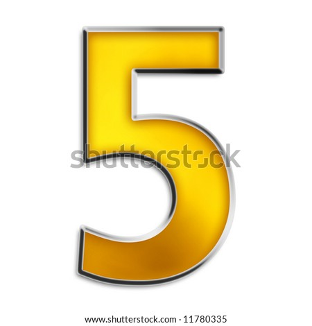 3d number 5 in shiny yellow gold isolated on white series - stock photo