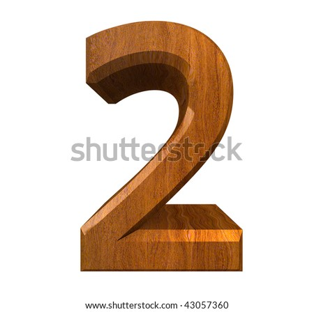 3d number 2 in wood - stock photo