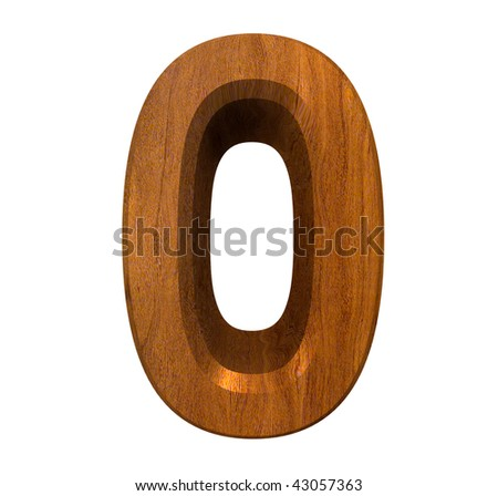 3d number 0 in wood - stock photo