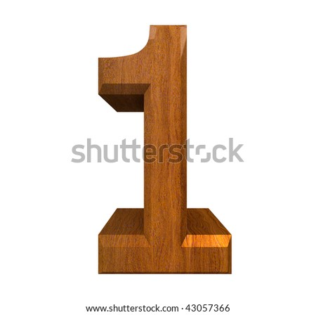 3d number 1 in wood - stock photo