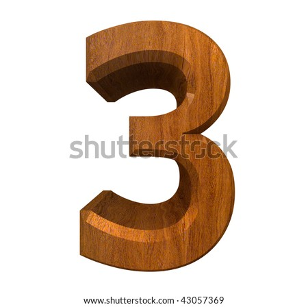 3d number 3 in wood - stock photo