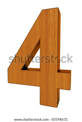 3d number 4 made of wood and cooper - stock photo