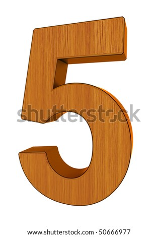 3d number 5 made of wood and cooper - stock photo
