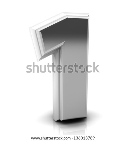 3d Number one  in silver on white background - stock photo