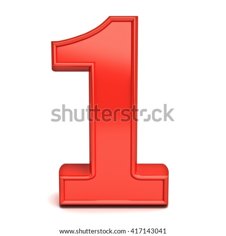 3D number one isolated over white background. 3D rendering.