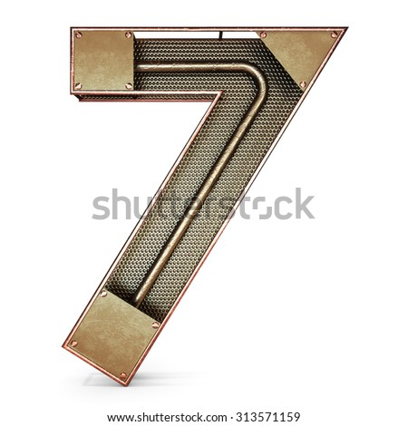 3d number seven 7 symbol with rustic gold metal, mesh, tubes with copper and brass accents.Isolated on a white background. - stock photo