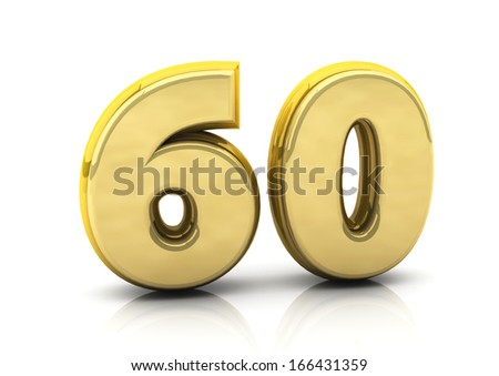 3d number sixty in gold   - stock photo
