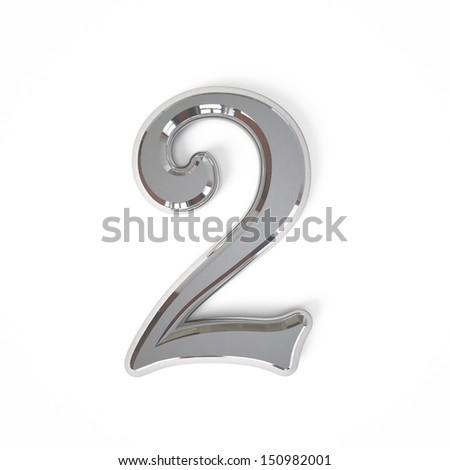 3d Number two with metal surface isolated on a white background - stock photo