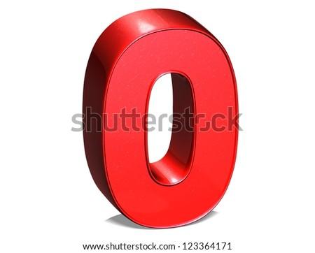 3D Number Zero on white background - stock photo