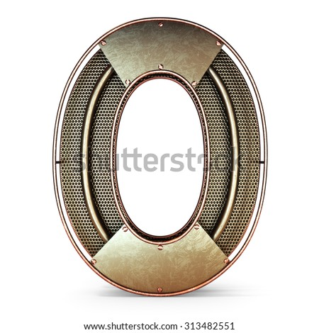 3d number zero 0 symbol with rustic gold metal, mesh, tubes with copper and brass accents.Isolated on a white background. - stock photo