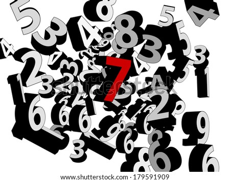 3D Numbers background with red number seven