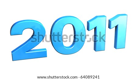 2011, 3D numbers in blue plastic on white background