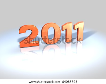 2011, 3D numbers in shiny red plastic on reflective surface