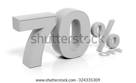 70% 3D numbers,isolated on white background.