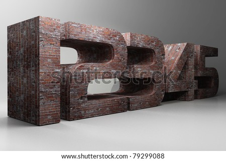 12345 3d numbers with brick texture - stock photo