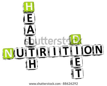 3D Nutrition Health Diet Crossword on white background - stock photo