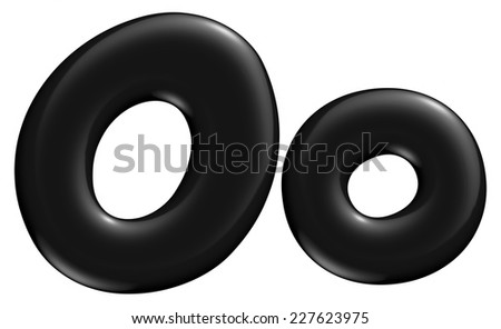 3D O alphabet with small later in black on isolated white background. - stock photo