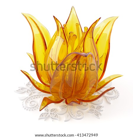 3D object from the glass on a white, flower