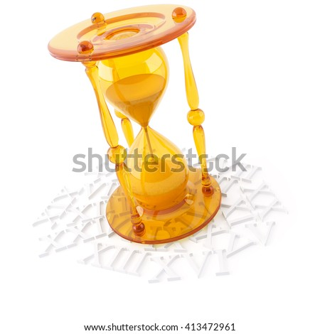 3D object from the glass on a white, hourglass - stock photo