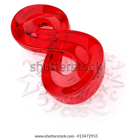 3D object from the glass on a white, Infinity sign - stock photo