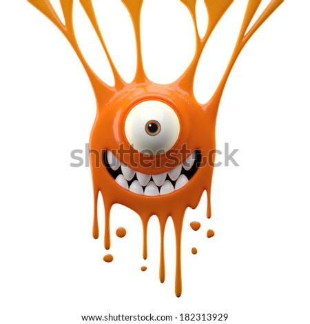 3D object, monster, funny cartoon isolated on white background  - stock photo
