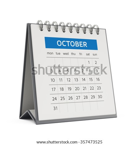 3d october desktop calendar with soft shadow isolated on white background