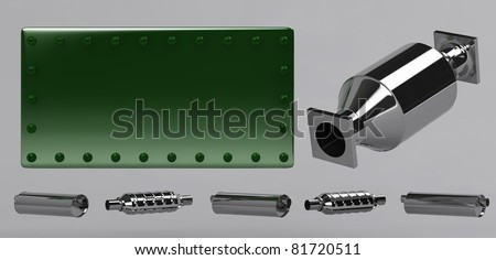 3D of catalytic converters and green stamped plate - stock photo