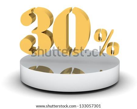 3d of golden 30 percent - stock photo