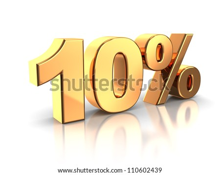 3d of golden 10 percent isolated on a white background - stock photo