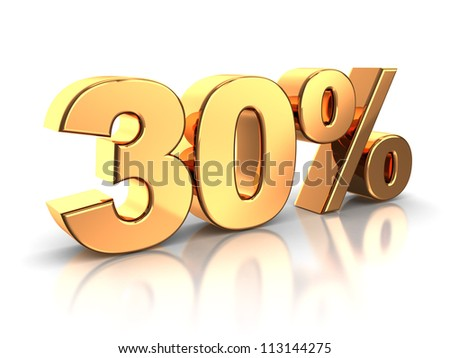 3d of golden 30 percent isolated on a white background - stock photo