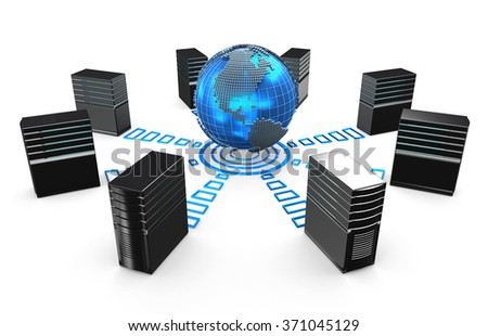 3d of network workstation servers connected with world. - stock photo