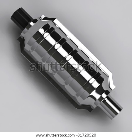3D of shiny reflecting catalytic converter in grey studio - stock photo