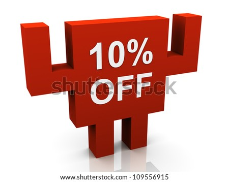 3d 10% off promotional sign