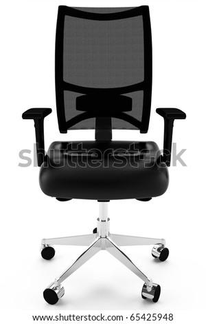 3D office armchair leather black - stock photo