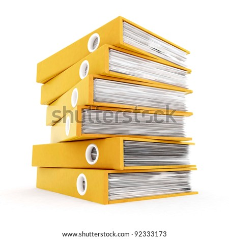 3d office folders - stock photo