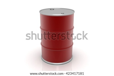 3D Oil barrel on white background - stock photo