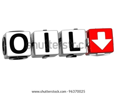 3D Oil button Text Cube block text over white background - stock photo