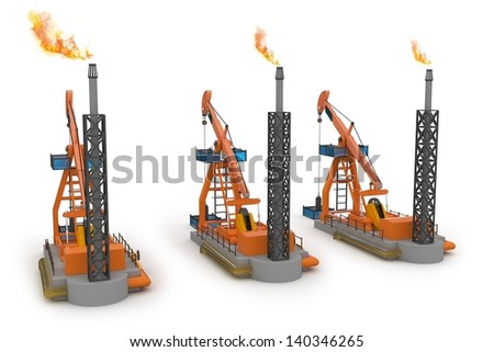 3d Oil Pump jacks isolated on white - stock photo