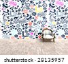 3D - old chair with a modern crazy background - stock vector