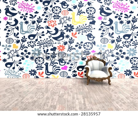 3D - old chair with a modern crazy background - stock photo