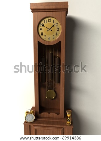 3d old clocks isolated on a white background