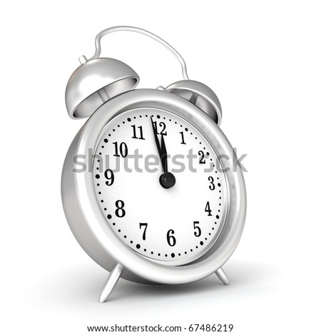 3d old fashioned alarm clock - stock photo