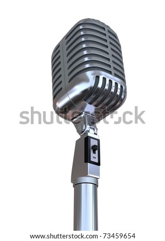 """3D Old metal microphone """"D"""" with alpha mask - stock photo"""