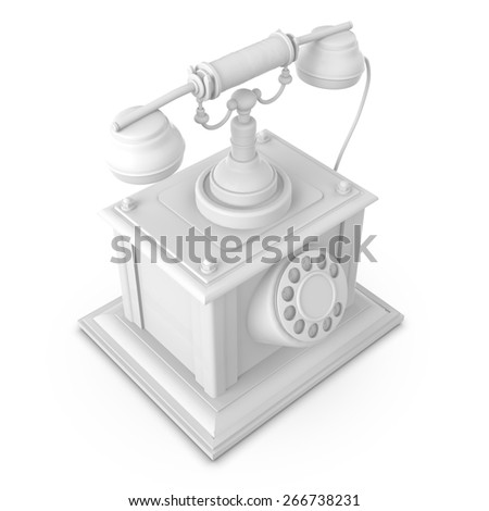 3D Old phone isolated in white background - stock photo