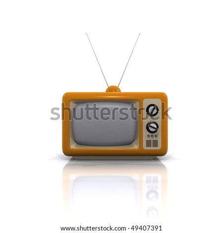3d old television isolated white background