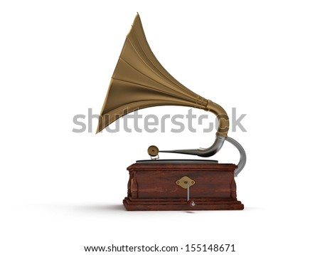 3d old vintage gramophone isolated on white background