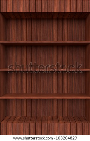 3d Old Wooden book Shelf - stock photo