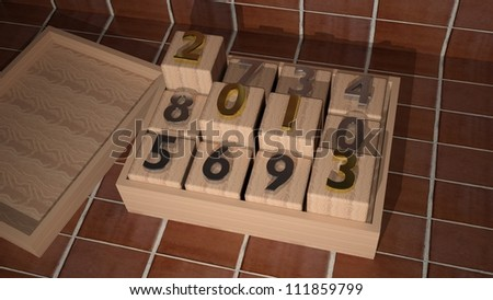 3d 2013 on wooden cubes - stock photo